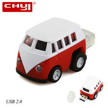 CHYI USB 2.0 Flash Drive Pen Drive Mini Cartoon Bus Shape Memory Stick 4/8/16/32/64GB for PC Computer Pendrive High Speed Disk