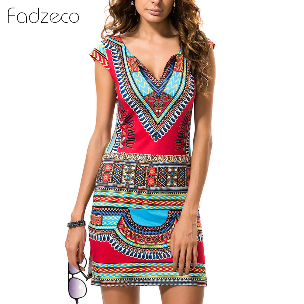 Fadzeco 2019 Summer Women African Printed Dress Sleeveless And V-neck Sexy Skirt Split Side Hem Tribal Pattern Traditional Dress