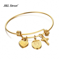 Virgin Mary And Cross Heart Lock Charm Wiomen Wire Bangle High Polished 316L Steel Gold Color