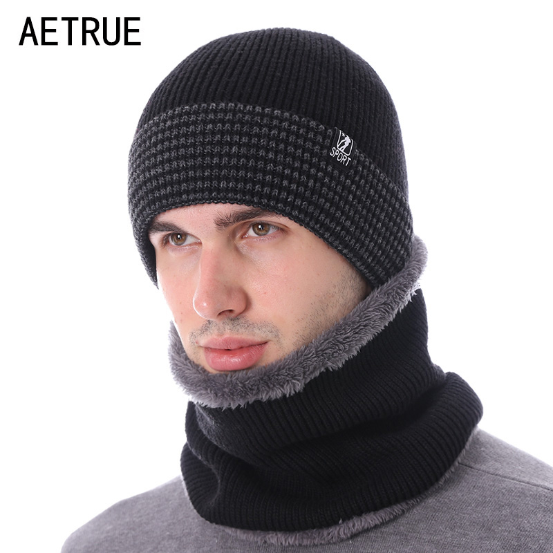 AETRUE Fashion Brand Winter Hat Scarves Skullies Beanies Men Bonnet Knitted Hats For Men Women Gorras Warm Wool Male Beanie Caps