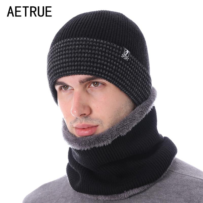 AETRUE Fashion Brand Winter Hat Scarves   Skullies     Beanies   Men Bonnet Knitted Hats For Men Women Gorras Warm Wool Male   Beanie   Caps