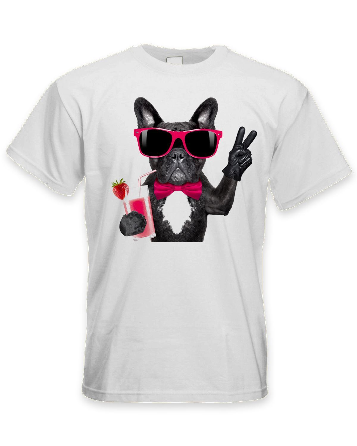 French Bulldog With Cocktail Smoothie Mens T-Shirt - Funny Pet Bull Dog Mens T Shirts Fashion 2018