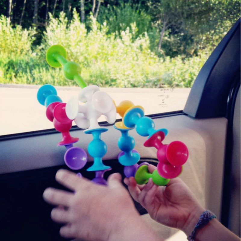 DIY Silicone tool accessory Assembled Suction Cup blocks Funny Construction Toys Children Educational Toys Brain develop Toys