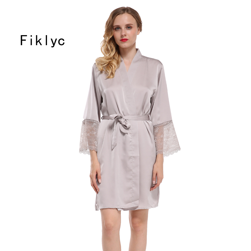 Fiklyc Brand Women's Robes Bridesmaids Wedding Kimono Bathrobes Lace Satin M L XL XXL Big Size Female Sexy Nightwear Nighties