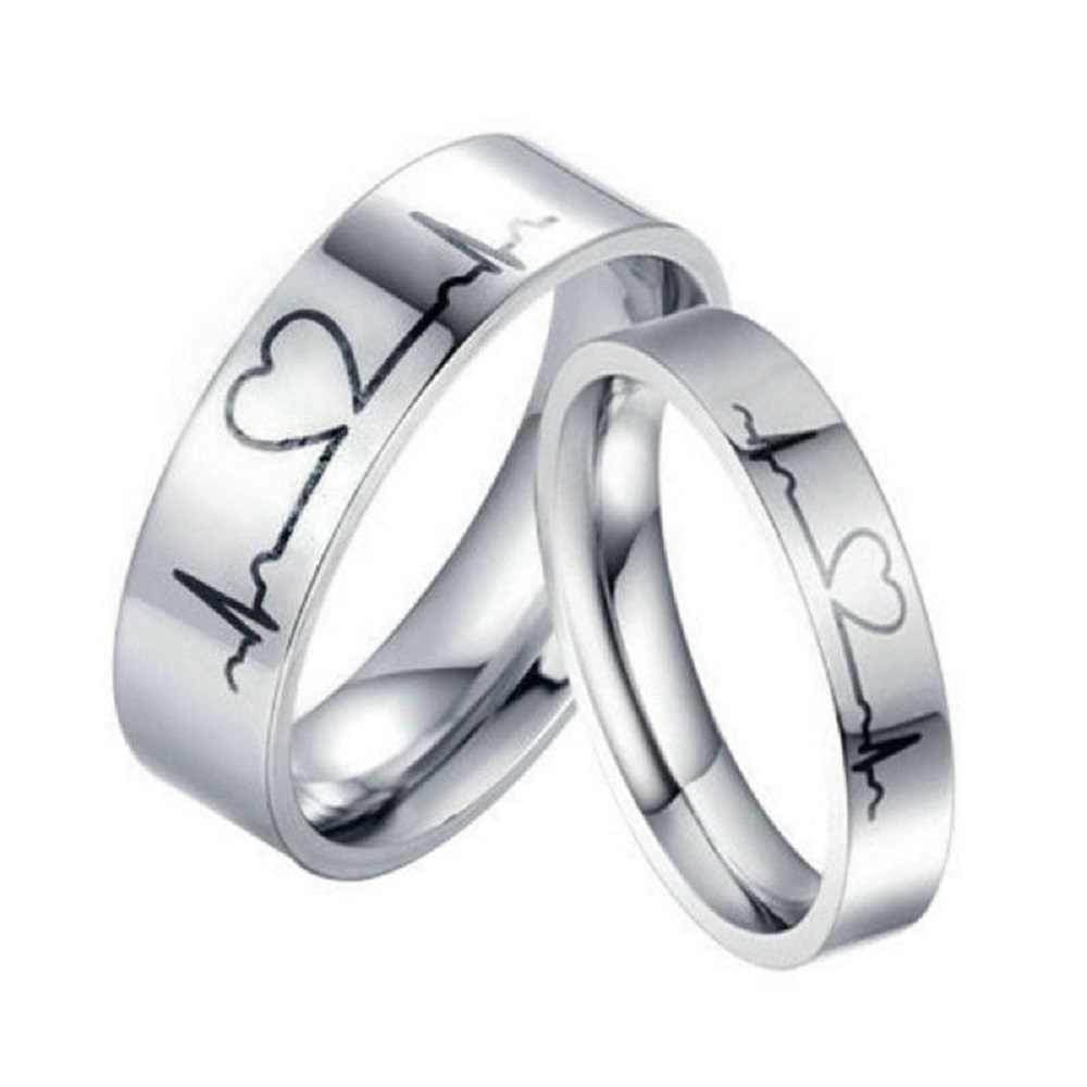 bd047dd4c4 Lover Heartbeat ECG Ring Couple Titanium Steel Wedding His and Her Promise  Rings Romantic Fashion New
