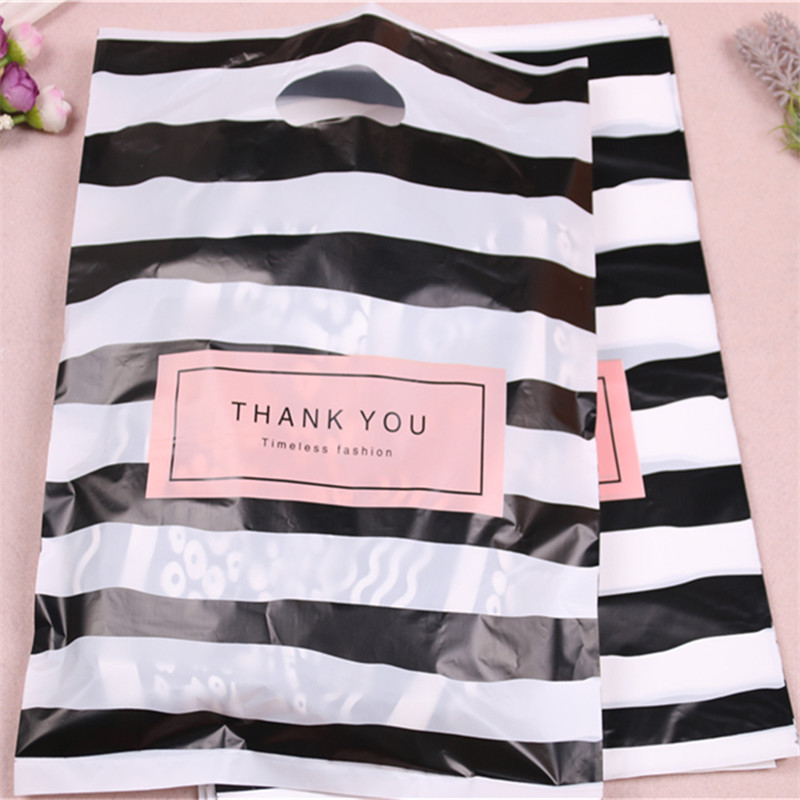 Image 4 - New Design Wholesale 100pcs/lot 25*35cm Luxury Fashion Shopping Plastic Gift Bags with Thank You Favor Birthday Packaging-in Gift Bags & Wrapping Supplies from Home & Garden