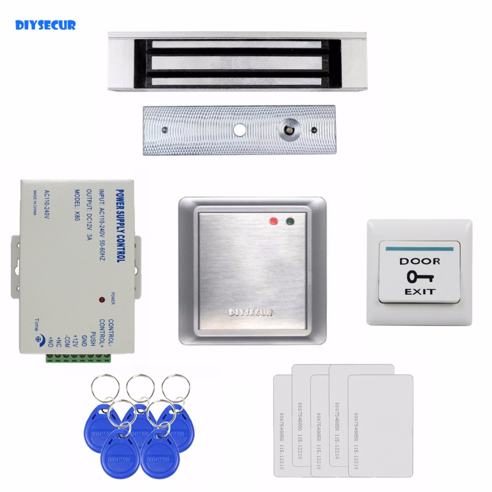 DIYSECUR Waterproof Remote Control Without Keypad ID Card Reader + 180KG Magnetic Lock Access Control System Full Kit Set 8168A low cost m07e access control kit without software waterproof card reader card access control device with magnetic lock