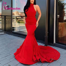 Long Mermaid Evening Dresses Satin Robe De Soiree 2019 Halter Neck Party Formal Dress