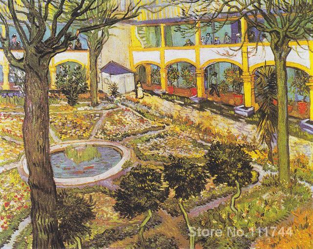 Vincent Van Gogh paintings of The Asylum Garden at Arles ...