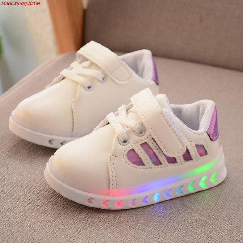 HaoChengJiaDe New Spring Autumn Children's Luminous Sneakers Kids Led Shoes Chaussure Enfant Girls Boys Shoes With LED Light