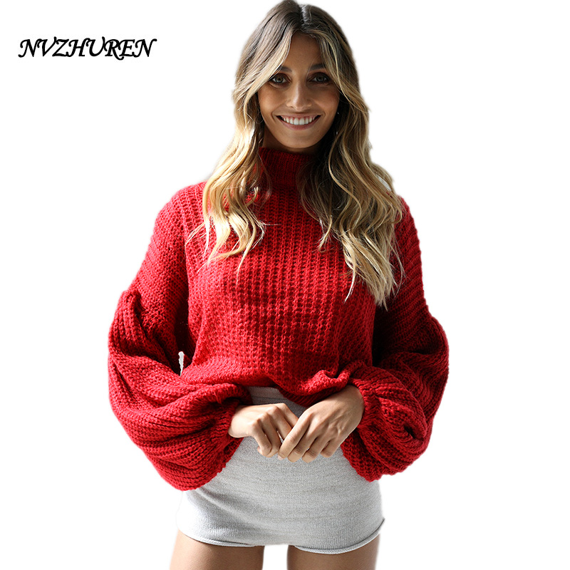 NVZHUREN Turtleneck Fashion Women Sweaters Autumn Lantern Sleeve Knitted Sweater Onesize Women Pullovers Jumpers Femme Tops