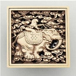 Antique Copper Anti-odor Square Elephant Bathroom Accessories Sink Floor Shower Drain Cover Luxury Sewer Filter K-8854