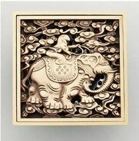 Antique Copper Anti odor Square Elephant Bathroom Accessories Sink Floor Shower Drain Cover Luxury Sewer Filter K 8854