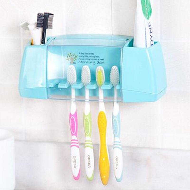 BAISPO ผู้ถือแปรงสีฟันมัลติฟังก์ชั่กล่องเก็บผลิตภัณฑ์ห้องน้ำอุปกรณ์ห้องน้ำตะขอดูดผู้ถือแปรงฟัน
