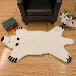 ROWNFUR Faux Fur Rug&Carpet For Home Living Room Children Bedroom Kids Nordic White  Soft Shaggy Washable Floor Large Mat Decor