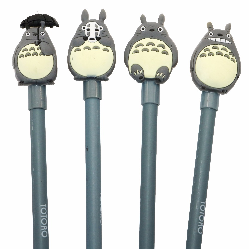 4 Pcs Cute My Neighbor Totoro Gel Ink Pen Creative Stationery Office Gel Pens Writing Tool Supplies Cute School Supplies