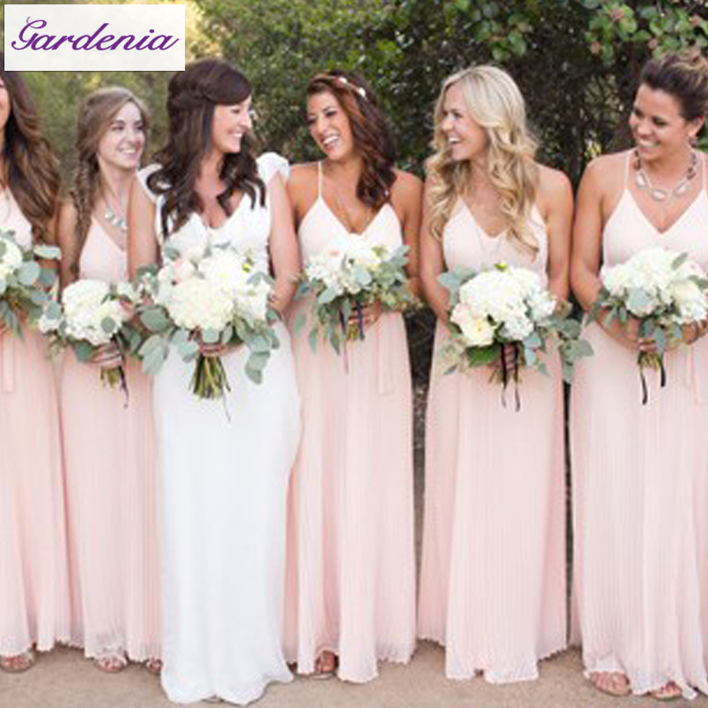 2017 New Arrival Elegant Sweetheart Back Sleeveless Pleated Long Chiffon Blush Pink Bridesmaid Dresses Patterns Bsd 011 In From