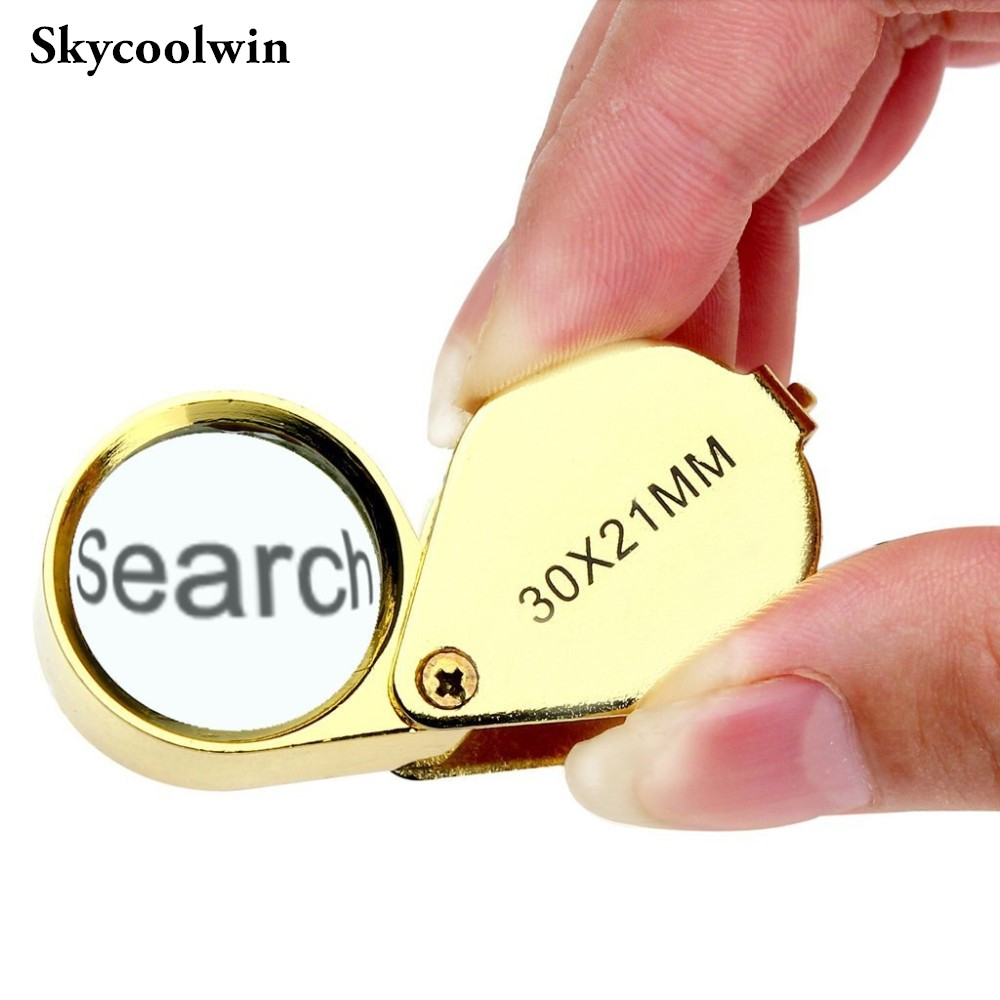 DHL Freeshipping 100pcs Portable 30X 21mm Jewelers Magnifier Gold Eye Loupe Jewelry Magnifying Glass with Exquisite Box