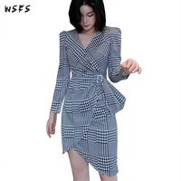Spring Asymmetrical Dress Vneck Black White Houndstooth Plaid Women Dresses Office Laides Bodycon Wrap Sexy Party Mini Dress