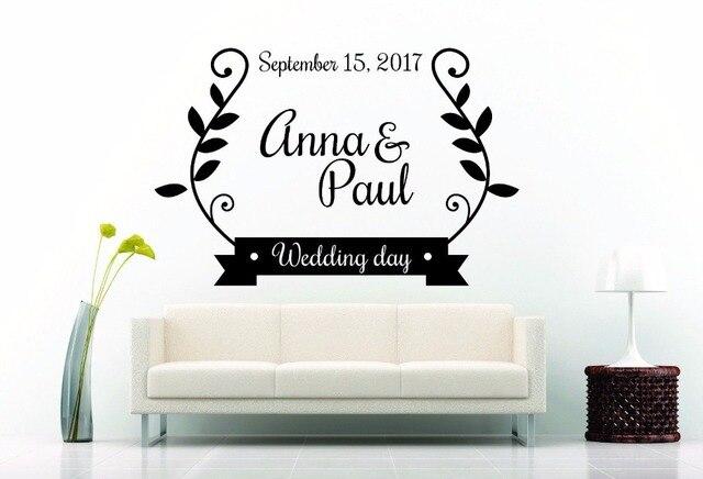 Custom made logo pribadi pernikahan dinding vinyl wall sticker dekorasi kamar tidur ruang tamu decal