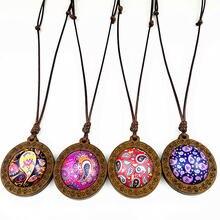 24 шт кулоны из стекла и дерева в виде цветка мандалы для женщин