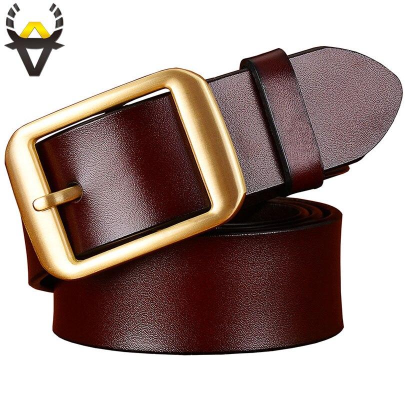 f725b148148f Mode Véritable ceintures en cuir pour hommes placage De Cuivre Alliage  boucle Ardillon ceinture homme Haute