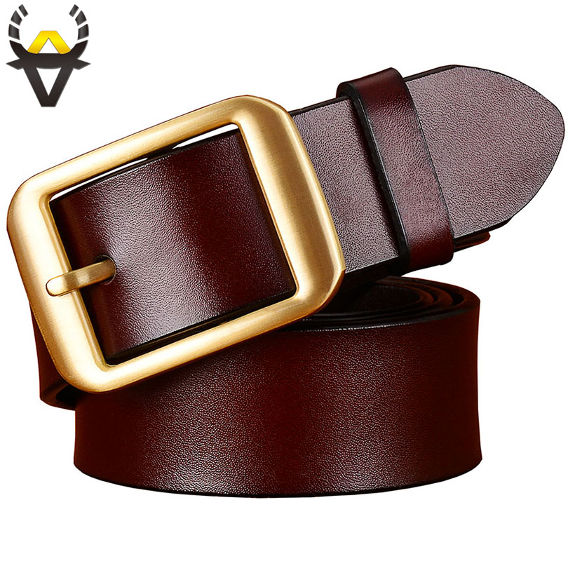 Fashion Genuine Leather Belts For Men Copper Plating Alloy Pin Buckle Belt Man Quality Second Layer Cow Skin Strap Male Brown