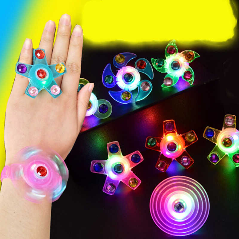 New Fidget Spinner Light Up Ring Stress Relief Fidget Toys Supplies Party Favors