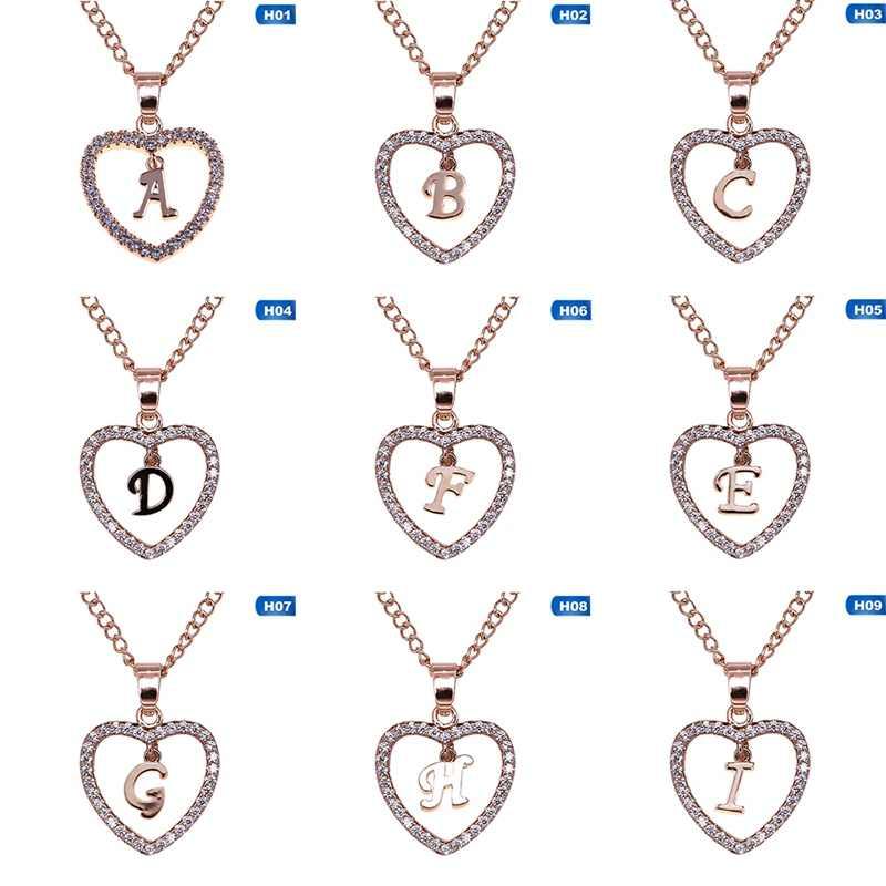 Cor do Ouro romântico 26 Nome da Letra Letras Maiúsculas Cubic Zirconia Amor Coração Pingente De Cristal Colar Charme Jóias Mulheres Gargantilha