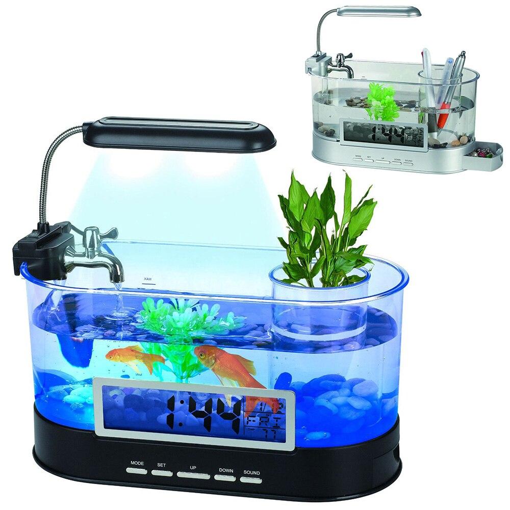Aquarium Mini Aquarium Aquarium Aquarium avec lampe à LED écran d'affichage à cristaux liquides et horloge Aquarium Aquarium D45 - 2