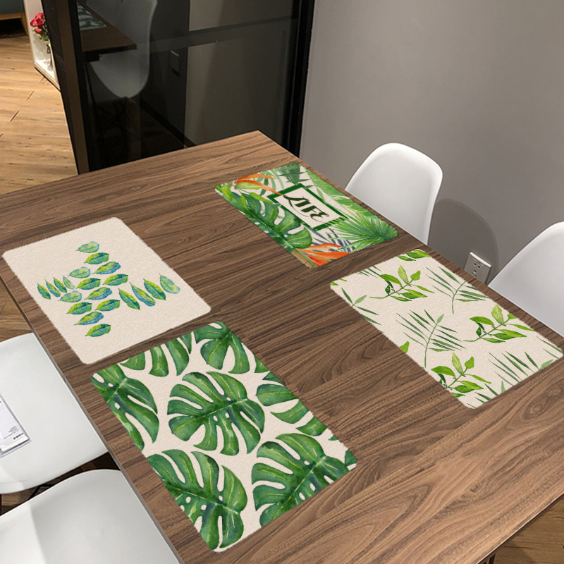 42*32cm Green Plant Kitchen Decoration Banquet Dinner Tableware Napkin Monstera Summer Table Napkin With Famous Painting Pattern