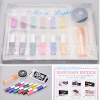 Free shipping 12 color Temporary tattoo Body Art condensation liquid kit 12 colors of Glitter kit