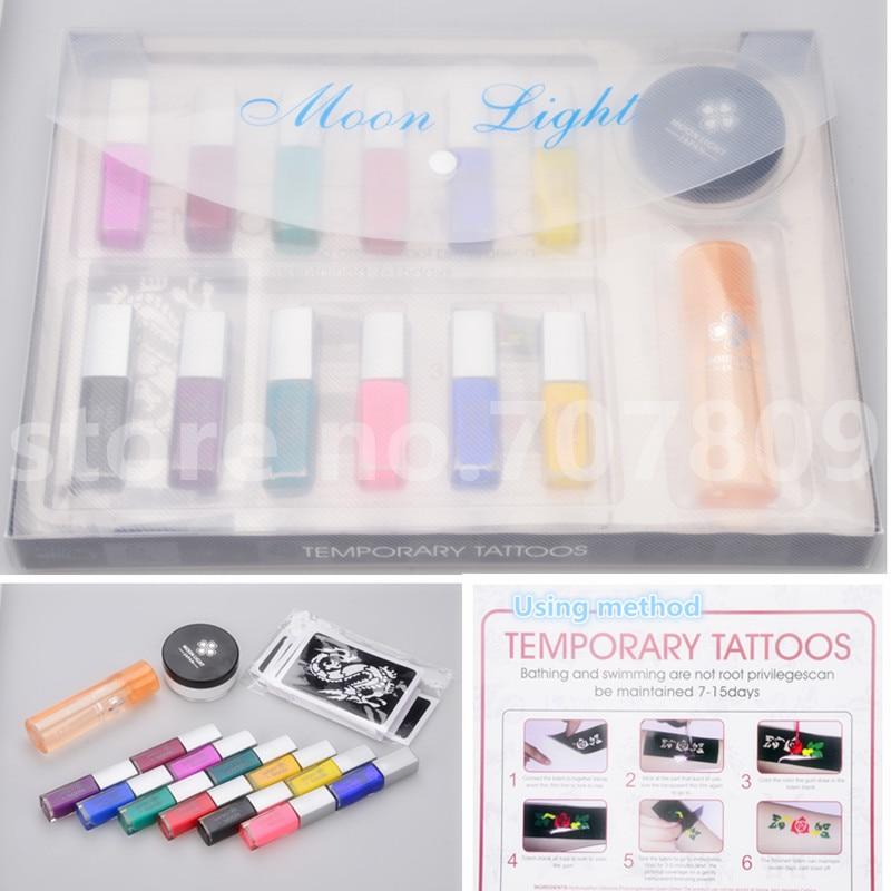 Livraison gratuite 12 couleurs tatouage temporaire corps Art condensation liquide kit 12 couleurs de kit de paillettes