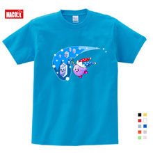 Cute Kirby Girl T Shirt Game Kids T-shirts Star Allies Characters Children Summer Tops Boy Cartoon Anime Pink Pattern