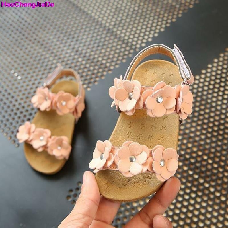 HaoChengJiaDe Summer Girls Sandals Princess Flower Shoes Kids Children Flat Children Sandals Baby Shoes Leather Shoes Size 21-30
