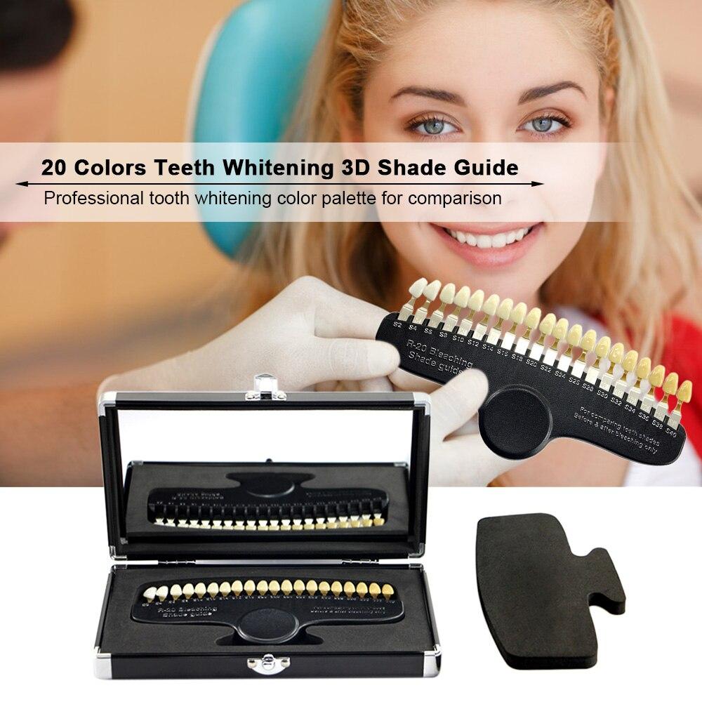 20 couleurs dents blanchissant 3D Guide d'ombre comparateur de couleur avec miroir dentisterie lumière froide Description plaque dentaire de blanchiment