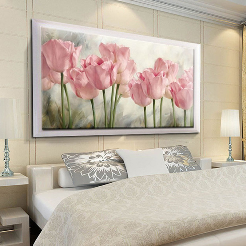 Full Diamond Painting Pink Tulips Diy Diamond Embroidery Flower Series Decoration For The Living Room A