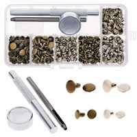120 set/pacco In Pelle Riparazione Decor Rivetti Tubolari In Metallo Singolo con Fissaggio Tool Kit #254973