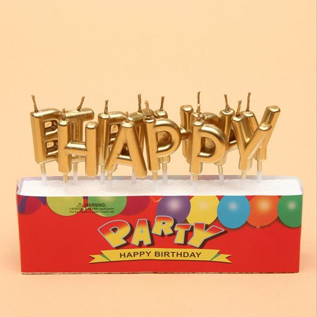 Gold Sliver Happy Birthday Letter Cake Birthday Party Festival Supplies  Lovely Birthday Candles For Kitchen Baking