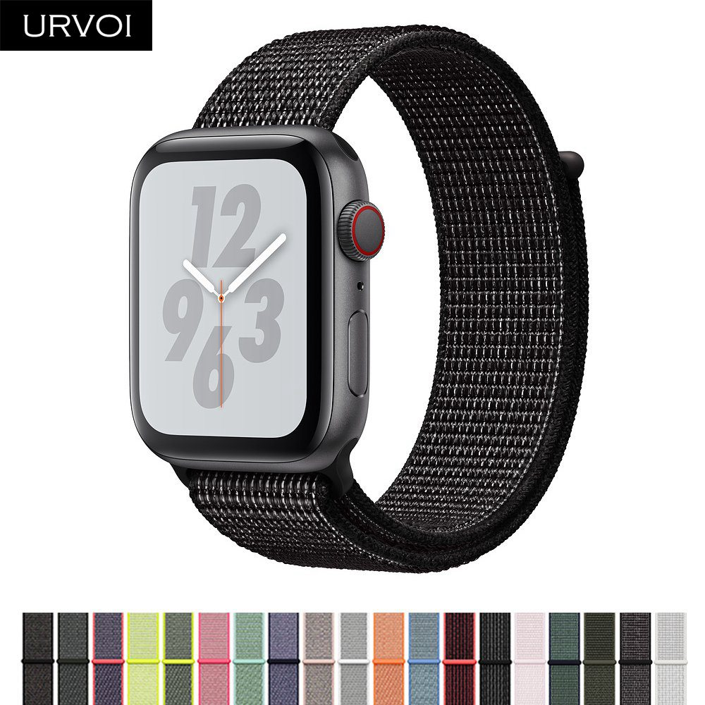 URVOI Fall 2018 Sport loop for apple watch series 4 3 2 1 reflective strap for iWatch band for NIKE+ double-layer HOOk&LOOP все цены