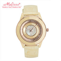 High Quality Ceramic Frame Women Watches Big Size MELISSA Dress Wristwatch Quartz 30MWater Proof Leather Feminino