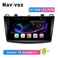 Navivox 9 2 Din Android 8.1 Car GPS Radio For Mazda 3 2009 2010 2011 2012 Tape Recorder Car DVD GPS Navigation Stereo Player