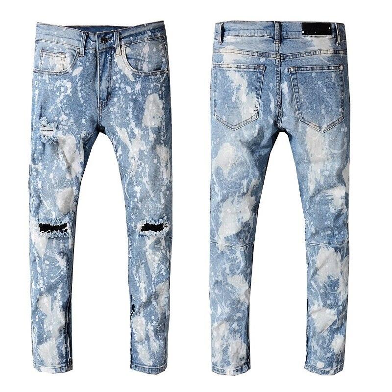 Graffi New Lavato Jeans Mens 40 Stirata Style Vernice Slim Scava Italia  Oliato Pantaloni Fuori 28 Size Denim Ginocchio 216 Di 6w16qOr 594b26abe74