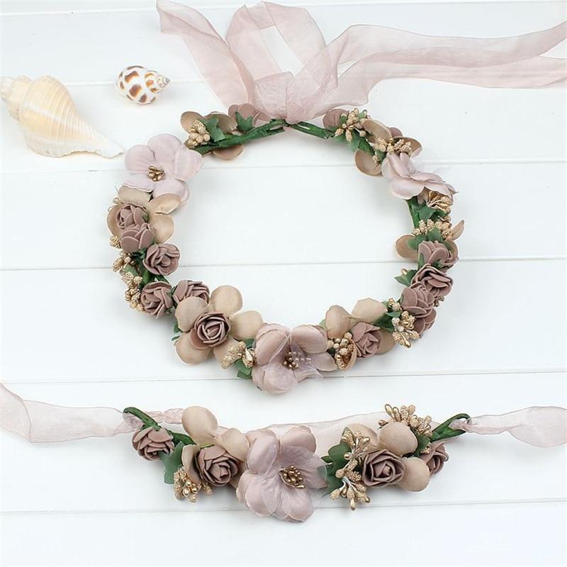 Μόδα Όμορφο Γάμο Νυφικό Λουλούδι Στέφανο Τάρα Coroa κορδέλες Floral Νύφη Γιρλάντα Στέφανα Παραλία στεφάνι Prom Headdress