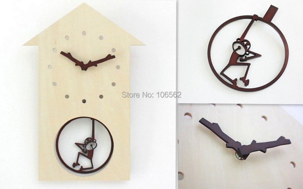 Geekcook Vintage Kitchen Cartoon Children Wooden Clock Little Monkey