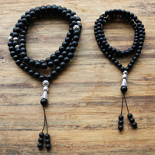 """8 מ""""מ ו 6 מ""""מ חרוזים שחורים עם סגסוגת צורת קסם 99 חרוזים תפילה האסלאמי המוסלמי Tasbih אללה מוחמד מחרוזת לנשים גברים"""
