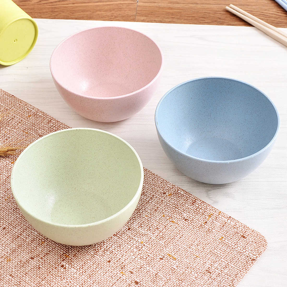 Kitchen Tableware Rice Noodle Salad Bowl Dish Wheat Straw Snacks Dish Tableware Small Breakfast dish
