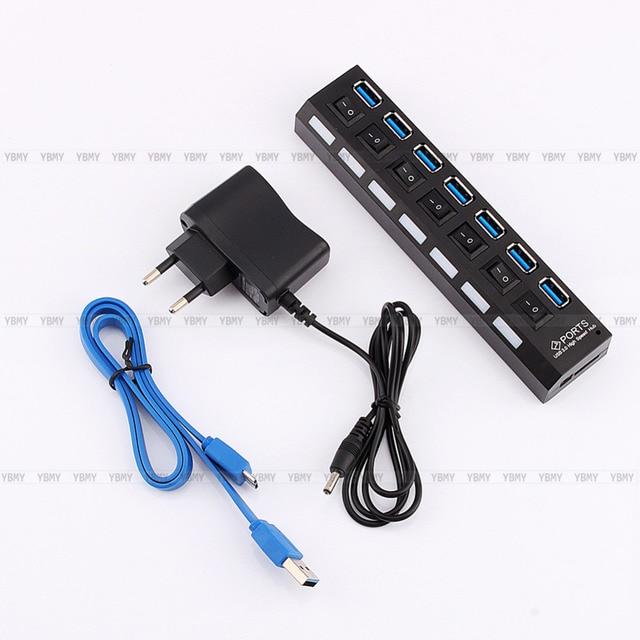 Usb 3.0 Hub 7 porto adaptador LED indicador AC Power Adapter cabo para PC Desktop Laptop Notebook Plug ue