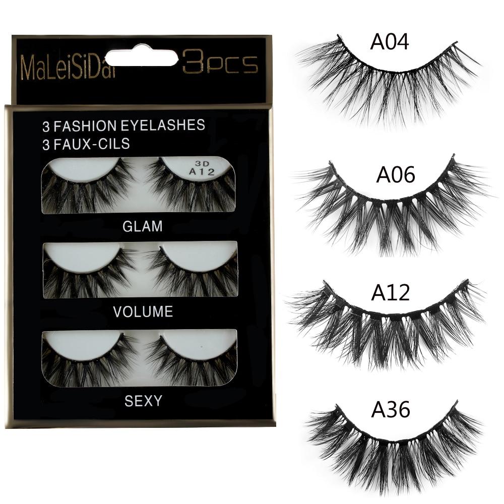 3 Pairs 3D Charming 100% Real Mink Hair Thick/Wispy/Cross/Wing False Eyelashes Natural Lon
