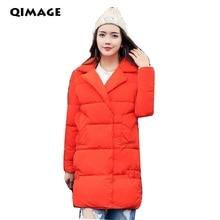 Q-IMAGE Newest Winter Jacket Coat 2017Women Long Cotton Down Parkas Lady Hooded Thick WarmJacket Outwear Female Parkas Plus size